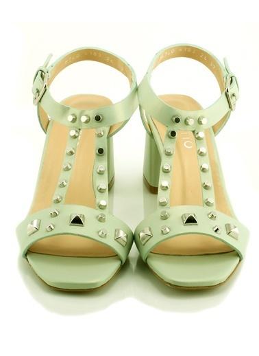 Poletto Kalın Topuklu Sandalet Yeşil